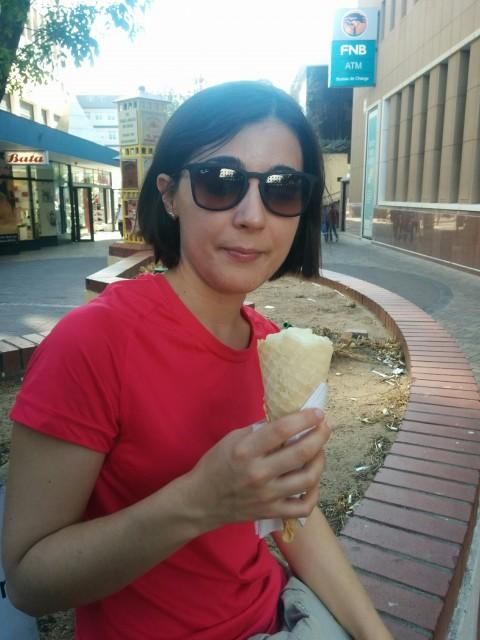 Primer helado de las vacaciones, en Windhoek